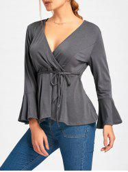 Surplice Neck Flare Sleeve Wrap Blouse -