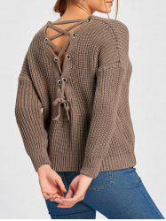 Scoop Neck Back Lace Up Sweater -