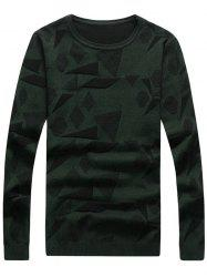 Geometric Pattern Crew Neck Pullover Sweater - BLACKISH GREEN 3XL