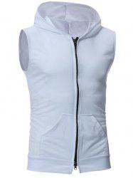 Zip Up Kangaroo Pocket Hooded Vest - WHITE XL