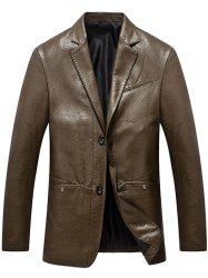Lapel Collar Single Breasted Faux Leather Blazer - BROWN L