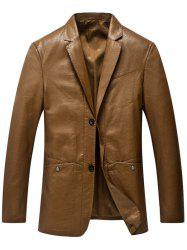 Lapel Collar Single Breasted Faux Leather Blazer - LIGHT BROWN 3XL