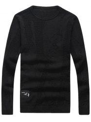 Abstract Pattern Patch Crew Neck Sweater - BLACK 2XL