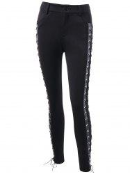 Skinny Lace Up High Waist Pants - BLACK 2XL