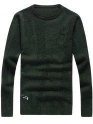 Abstract Pattern Patch Crew Neck Sweater - BLACKISH GREEN 3XL