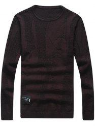 Abstract Pattern Patch Crew Neck Sweater - WINE RED 3XL