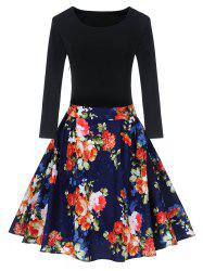 Vintage Floral Print Pin Up Skater Dress - BLUE AND RED 2XL