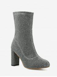 Pointed Toe Zip Chunky Heel Boots - SILVER 39