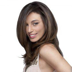 Medium Side Fringe Fluffy Natural Straight Synthetic Wig -