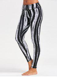Tie Dye Striped Printed Running Leggings - Noir XL
