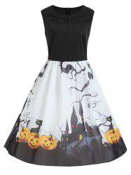 Plus Size Halloween Pumpkin Print Sleeveless Dress - White And Black - 5xl