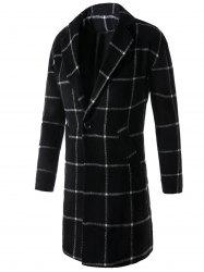 Lapel One Button Graphic Print Checked Coat - BLACK 2XL