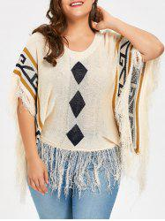 Taille supérieure Tassel Hem Poncho Argyle Sweater - Abricot TAILLE MOYENNE