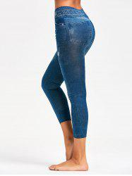 Printed Slimming Jeggings - BLUE ONE SIZE