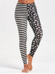 Contrast Stripes and Stars Printed Sports Leggings -
