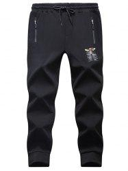 Tiger Bee Print Drawstring Waist Jogger Pants - BLACK M
