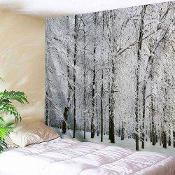 Snowy Forest Print Tapestry Wall Hanging Art Decoration - Grey White - W91 Inch * L71 Inch