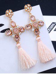 Floral Rhinestone Cross Design Tassel Drop Earrings - Pink