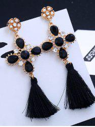 Floral Rhinestone Cross Design Tassel Drop Earrings - BLACK