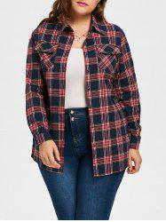 Plus Size Crane Letter Embroidered Plaid Shirt - RED 2XL