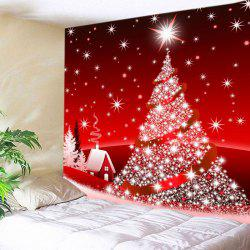 Christmas Tree Star Print Tapestry Wall Hanging Art Decoration - Red - W91 Inch * L71 Inch