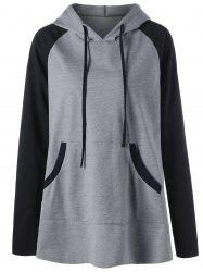 Hooded Front Pocket Raglan Sleeve Plus Size T-shirt - Gray - 2xl