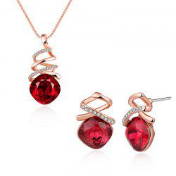 Rhinestone Faux Crystal Charm Jewelry Set - RED