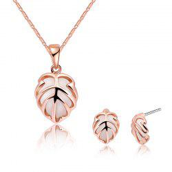 Faux Opal Leaf Necklace with Earring Set -