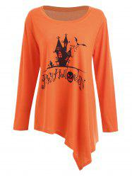 Long Plus Size Happy Halloween Asymmetric T-shirt - Orange Wave Point - 5xl