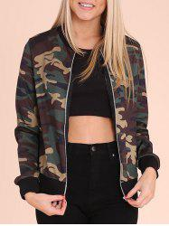 Zip Up Camouflage Print Jacket - CAMOUFLAGE M