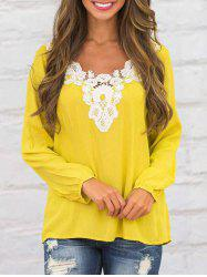 Crochet Insert Casual Long Sleeve Top - Jaune S