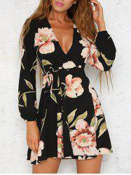 Long Sleeve Low Cut Floral Dress - COLORMIX S