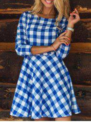 Plaid Flare Mini Dress - BLUE XL
