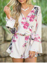 Floral Bell Sleeve Surplice Romper - FLORAL S