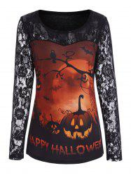 Lace Sleeve Pumpkin Happy Halloween Top - ORANGE S