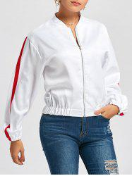 Stripe Bomber Jacket - WHITE M