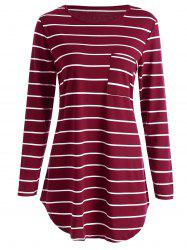 Stripe Pocket Tunic Mini T-shirt Dress - RED S
