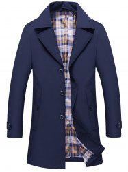 Single Breasted Lapel Trench Coat - DEEP BLUE XL