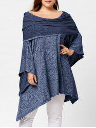Off Shoulder Plus Size Asymmetric Tunic Top - Light Blue - One Size