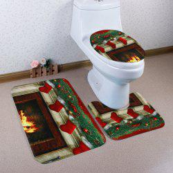 3Pcs Christmas Fireplace Socks Bath Toilet Mats Set