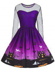 Plus Size Halloween Pumpkin Castle Print Vintage Dress - Purple - 5xl
