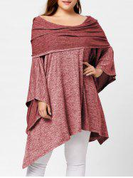 Off Shoulder Plus Size Asymmetric Tunic Top - RED ONE SIZE