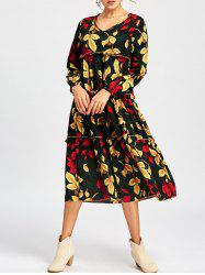 V Neck Leaf Print Long Sleeve Midi Dress - COLORMIX S