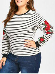 Casual Embroidery Striped Sweatshirt -