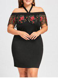 41% OFF] Plus Size Halter Embroidery Mini Tight Dress | Rosegal