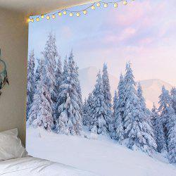 Snow and Cedrus Pattern Waterproof Wall Art Tapestry - Grey White - W91 Inch * L71 Inch