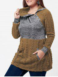 Plus Size Pullover Pockets Cable Knit Sweater -
