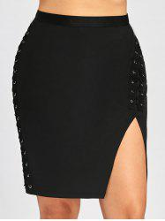 Plus Size High Waist Slit Criss Cross Bodycon Skirt -