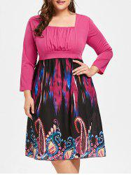 Plus Size Tribe Print Square Neck Dress -