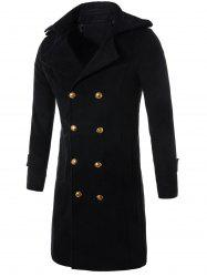 Longline Double Breasted Wool Blend Trench Coat -